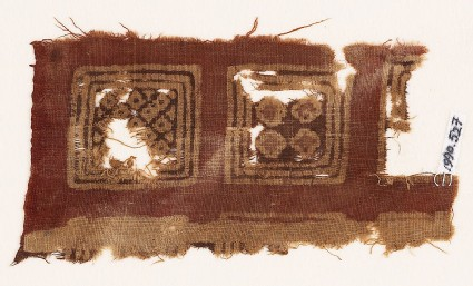 Textile fragment with squares and diamond-shapes