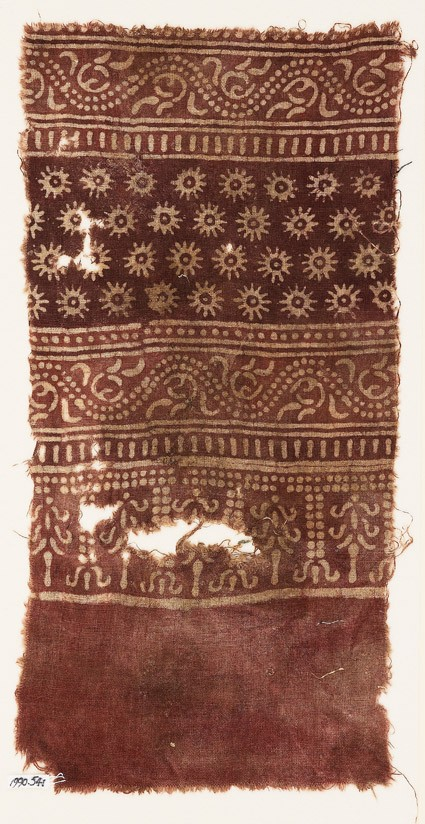 Textile fragment with bands of dotted vines, tendrils, rosettes, and stylized trees