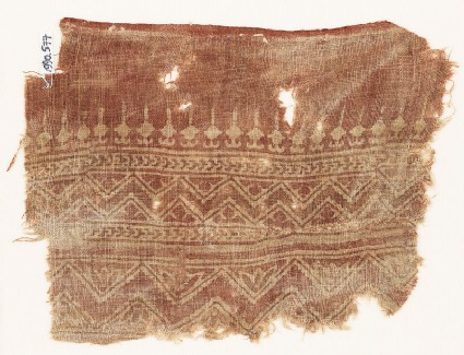 Textile fragment with bands of zigzag, chevrons, and bodhi leaves