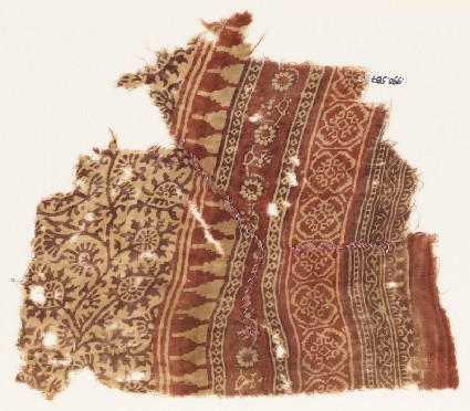 Textile fragment with tendrils, flowers, leaves, and bands with flowers and quatrefoils