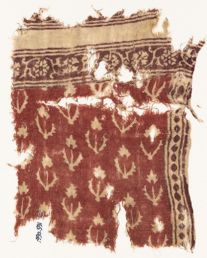 Textile fragment with flowers, stems, and leaves