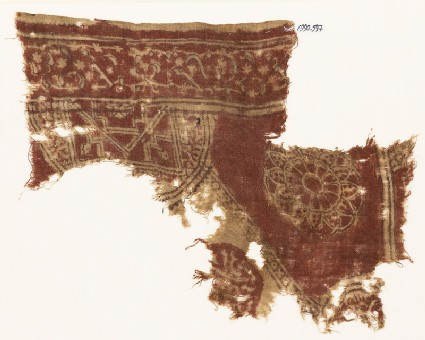 Textile fragment with semicircle, complex rosette, and circle fragment with script