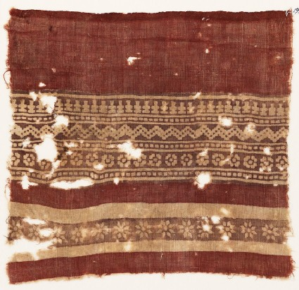 Textile fragment with bands of rosettes, zigzag, and possibly vases