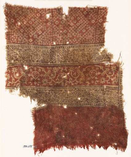 Textile fragment with squares, tendrils, flowers, and bandhani, or tie-dye, imitation
