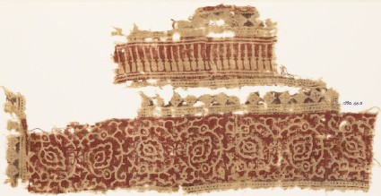Textile fragment with an ornate vine, flower-heads, and triangles