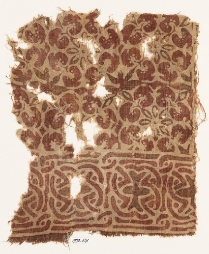 Textile fragment with interlace and interlocking rosettes