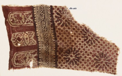 Textile fragment with rosettes, dots, and tab-shapes