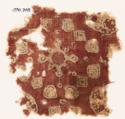 Textile fragment with rosette, lobed shape, squares, and hearts