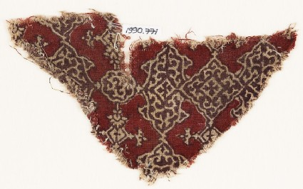 Textile fragment with cartouches, squares, and medallions