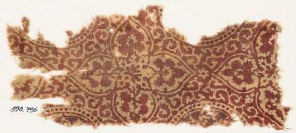 Textile fragment with quatrefoils and tendrils