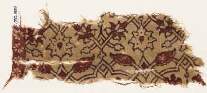 Textile fragment with interlacing tendrils, flowers, and leaves