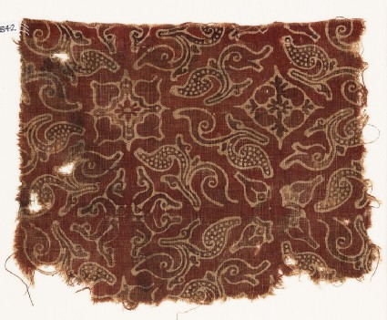 Textile fragment with leaves and quatrefoils