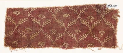 Textile fragment with linked branches and carnations