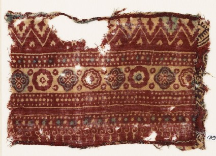 Textile fragment with bands of quatrefoils, rosettes, and chevrons