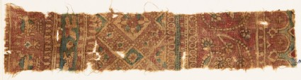 Textile fragment with bands of tendrils, flowers, and squares