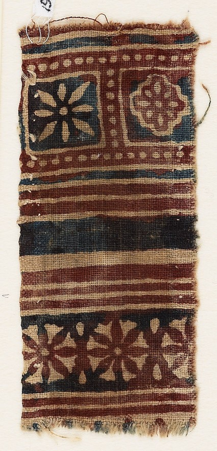 Textile fragment with squares and rosettes