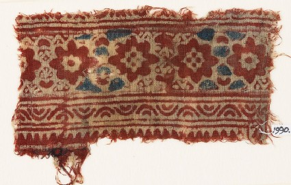 Textile fragment with flower-heads