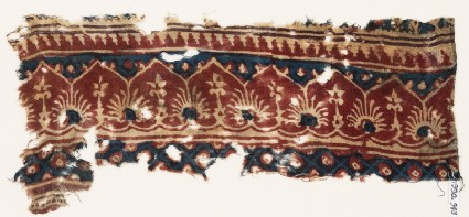 Textile fragment with arches, palmettes, and flowers