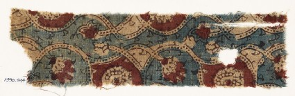 Textile fragment with interlacing tendrils and flower-heads