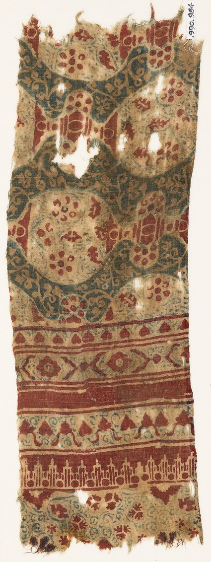 Textile fragment with tendrils and linked ovals