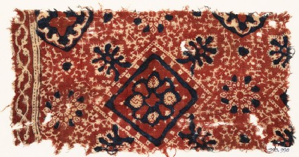 Textile fragment with square, flower-heads, rosettes, and medallions