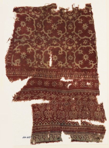 Textile fragment with medallions, flowers, and hearts