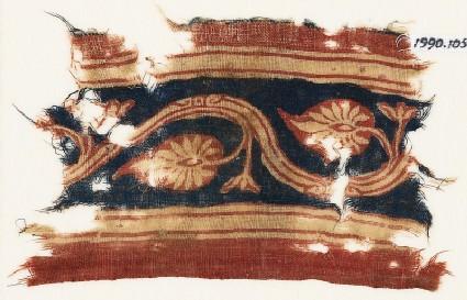 Textile fragment with vine and palmettes