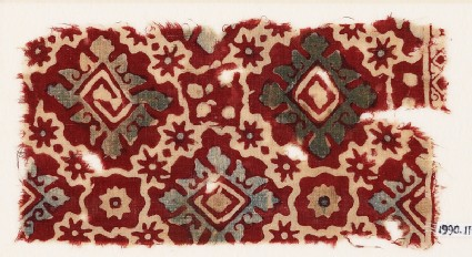 Textile fragment with ornate squares, stars, and flowers