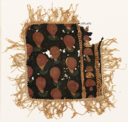Textile fragment with dots, chevrons, and fringe, possibly from a place-mat or jar cover