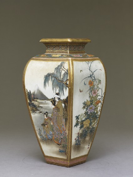 Kyo-Satsuma vase with figures, flowers, and landscape scenes