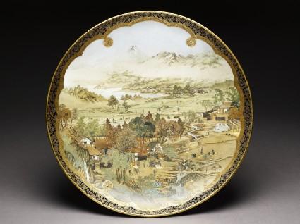 Kyo-Satsuma dish with landscape using westernized perspective