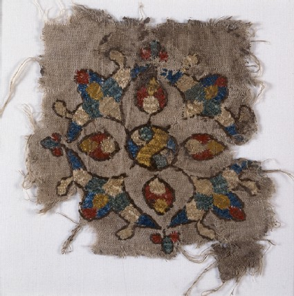 Textile fragment with cruciform palmette