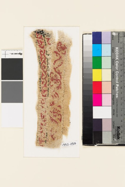 Textile fragment with floral scrolling pattern, probably from the cuff of a sleeve
