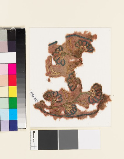 Textile fragment with sprays of flowers and leaves
