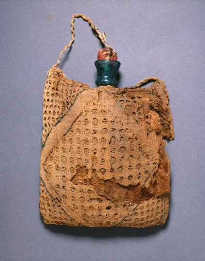 Pilgrim's flask in an embroidered linen bag
