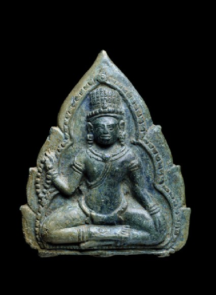 Plaque with a seated bodhisattva