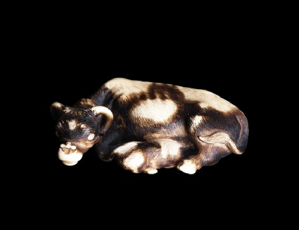 Netsuke in the form of a buffalo and calf