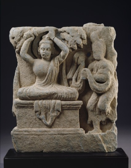 Relief fragment depicting Prince Siddhartha, the future Buddha, cutting his hair in renunciation