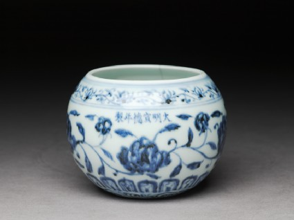 Blue-and-white jar with flowers