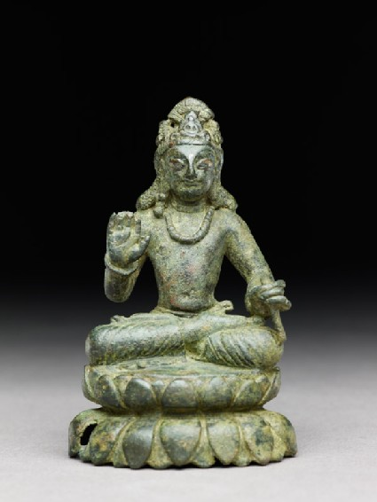 Figure of a seated bodhisattva or Maitreya, the future Buddha, on double lotus petal base