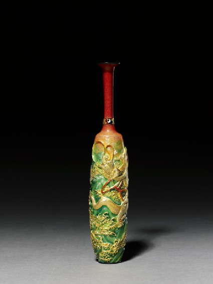 Vase with dragon amid waves