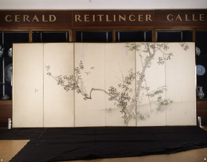 Six-fold screen depicting flowers and birds
