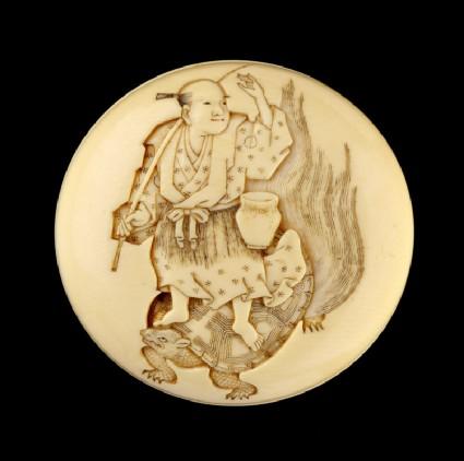 Manjū netsuke depicting Urashima Tarō riding on the back of his wife, who is disguised as a turtle