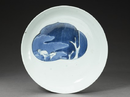Dish with egrets