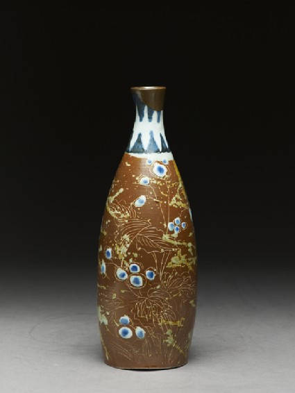 Bottle with butterflies and flowers