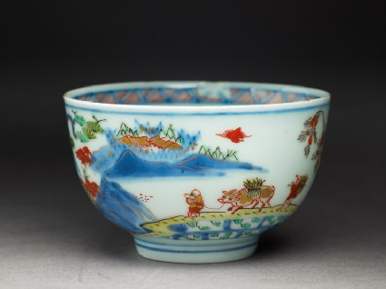 Cup with Japanese picnic scene