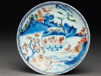 Saucer with Japanese picnic scene