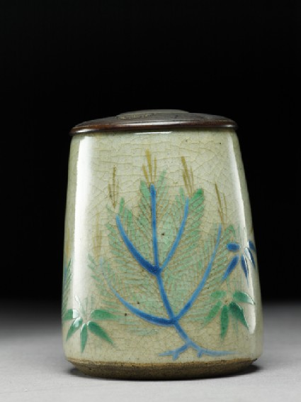 Tea caddy, or natsume, with pine trees and bamboo