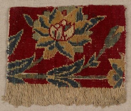 Mughal carpet fragment with floral design
