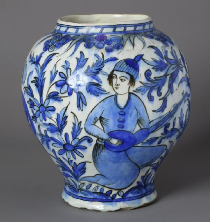 Jar with two youths in a landscape